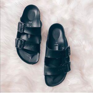 Black rubber birkenstocks size 7